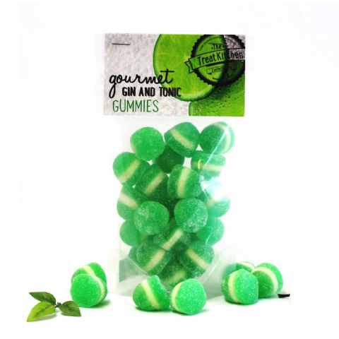 Gin & Tonic Gummies Jelly Sweets Pouch - Gourmet Range The Treat Kitchen Confectionery 200g